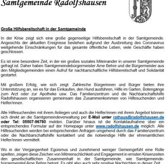 Nachbarschaftliche Hilfe und Solidarität in Radolfshausen