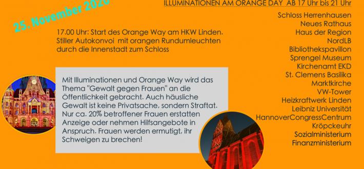 Stoppt Gewalt gegen Frauen! Hannover leuchtet Orange am 25.11.2020